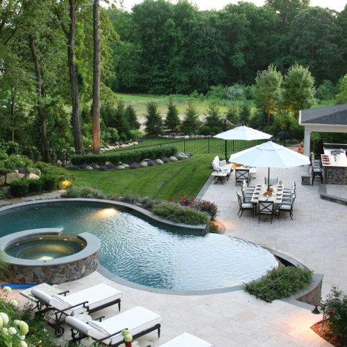 Existing vegetation allows for enhanced feeling of enclosure while added amenities increase intimacy of the backyard space