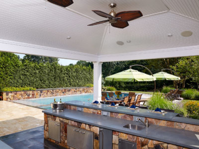 Bluestone Countertop Natural Stone Cabinets Vaulted Cabana Ceiling