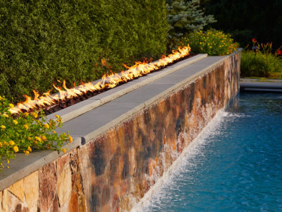 Natural Stone Waterfall Pool Fire Wall