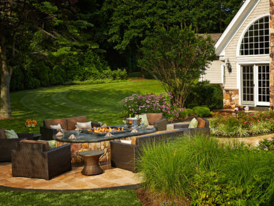 Outdoor Travertine Fire pit Lounge Seating - Bluestone Counter