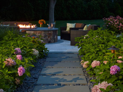 Stepping Stones River Rock Hydrangeas Firepit Landscape Lighting