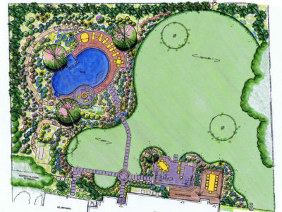 The plan shows that by pushing the pool into the back left corner of the overgrown property we were able to maintain large play lawn to the right.
