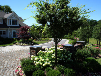 Double brick entry walls with lush planting define entrance onto cobblestone driveway inlay