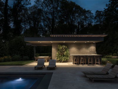 Covered Outdoor Kitchen Modern Poolhouse