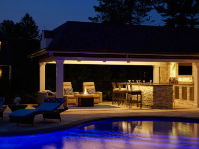 Night lit cabana on the north shore with pool lighting